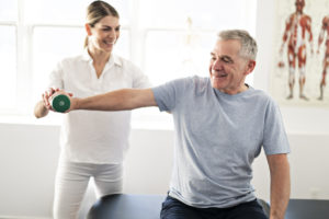 Man doing physical therapy